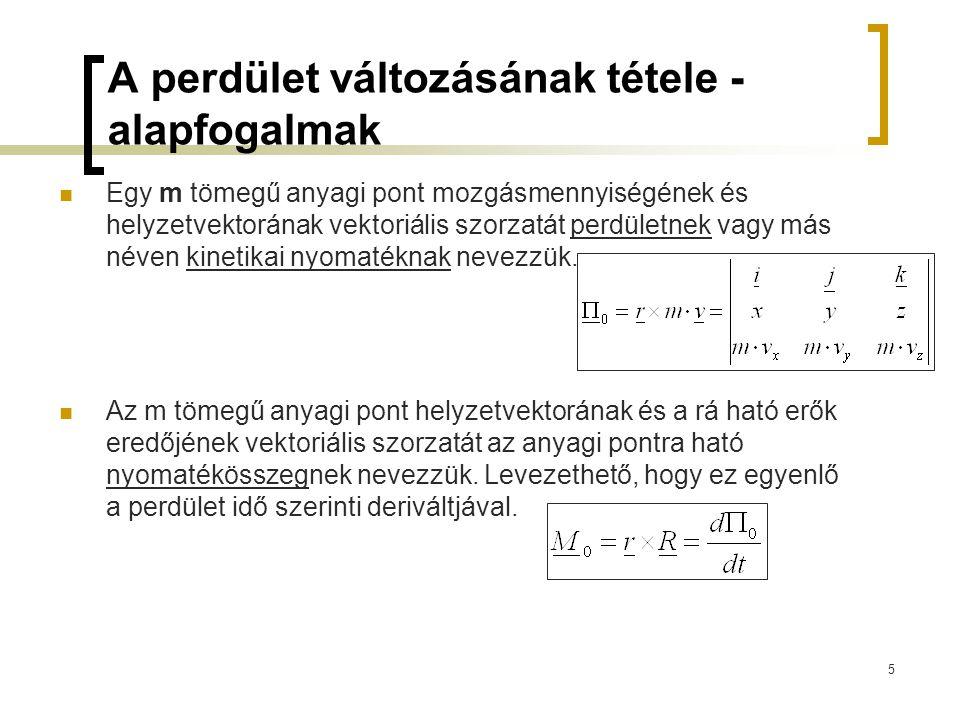5 A perdület változásának tétele - alapfogalmak Egy m tömegű anyagi pont mozgásmennyiségének és helyzetvektorának vektoriális szorzatát perdületnek va