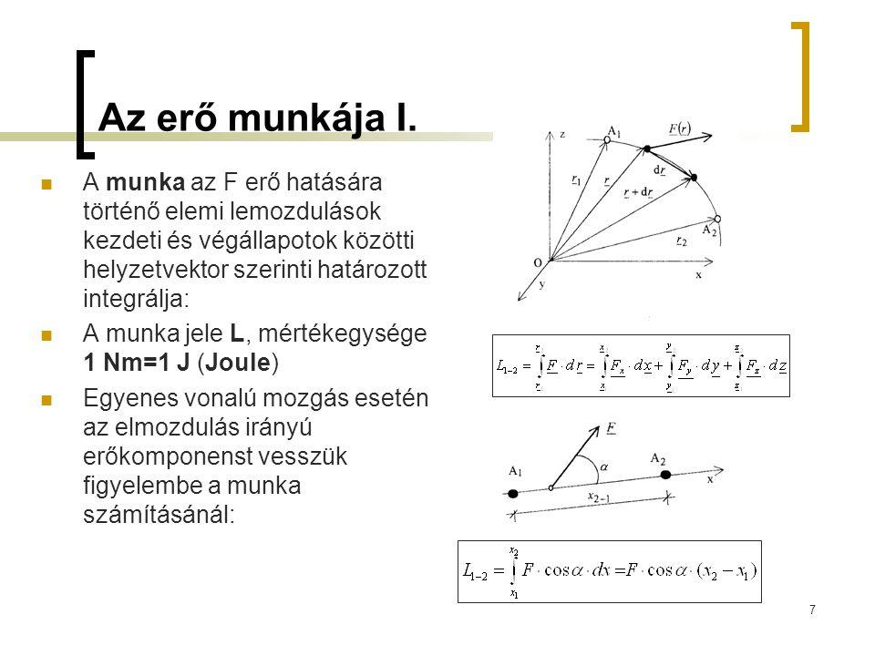 7 Az erő munkája I. A munka az F erő hatására történő elemi lemozdulások kezdeti és végállapotok közötti helyzetvektor szerinti határozott integrálja: