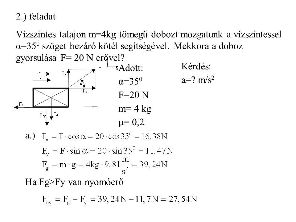 2.) feladat Vízszintes talajon m=4kg tömegű dobozt mozgatunk a vízszintessel α=35 0 szöget bezáró kötél segítségével.