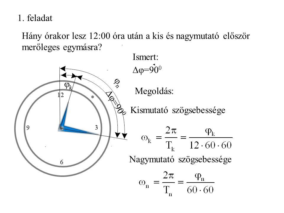 1.feladat Hány órakor lesz 12:00 óra után a kis és nagymutató először merőleges egymásra.