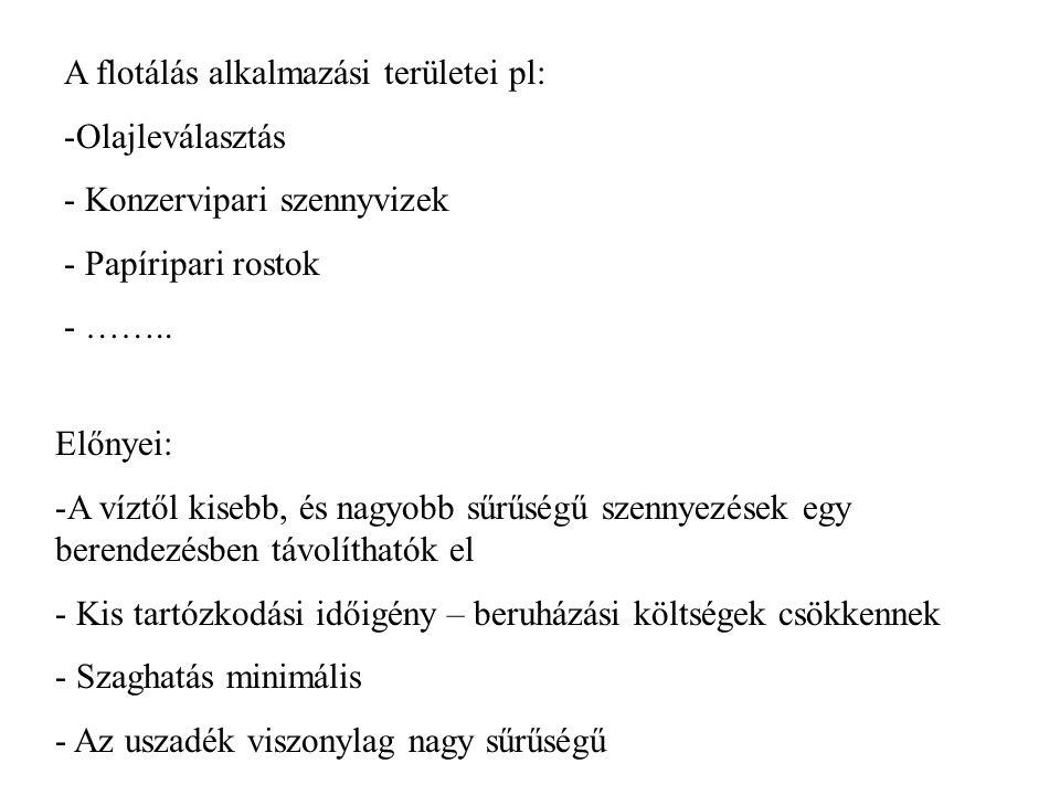 A flotálás alkalmazási területei pl: -Olajleválasztás - Konzervipari szennyvizek - Papíripari rostok - ……..