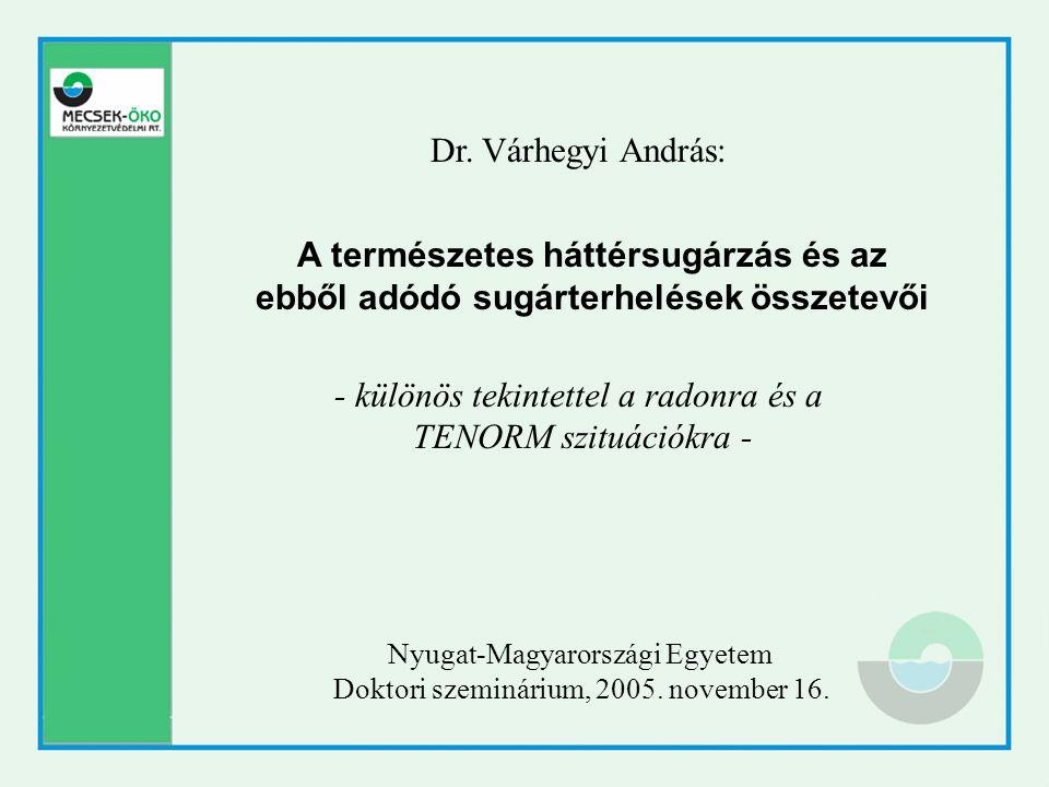 A természetes háttérsugárzás és az ebből adódó sugárterhelések összetevői - különös tekintettel a radonra és a TENORM szituációkra - Dr. Várhegyi Andr