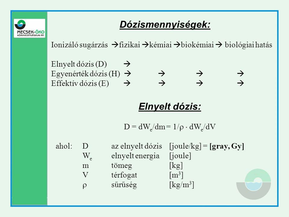 Egyenérték dózis, minőségi tényező: figyelembe veszi az adott sugárzás biológiai hatásosságát H = D  Q ahol: Hegyenérték dózis [sievert, Sv] Dtestszövetben elnyelt dózis [Gy] Qminőségi tényező [dimenzió nélküli] A Q minőségi tényező értéke egyes sugárzás-típusokra: Ionizáló sugárzás fajtájaQ minőségi tényező Röntgen, gamma, béta1 Proton, egyszeresen töltött részecske5 Alfa, többszörösen töltött részecske20 Neutron (energiától függően)5 … 20