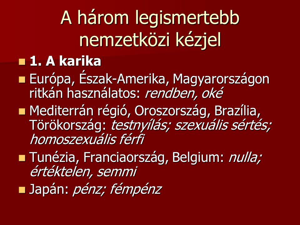 A három legismertebb nemzetközi kézjel 1. A karika 1. A karika Európa, Észak-Amerika, Magyarországon ritkán használatos: rendben, oké Európa, Észak-Am
