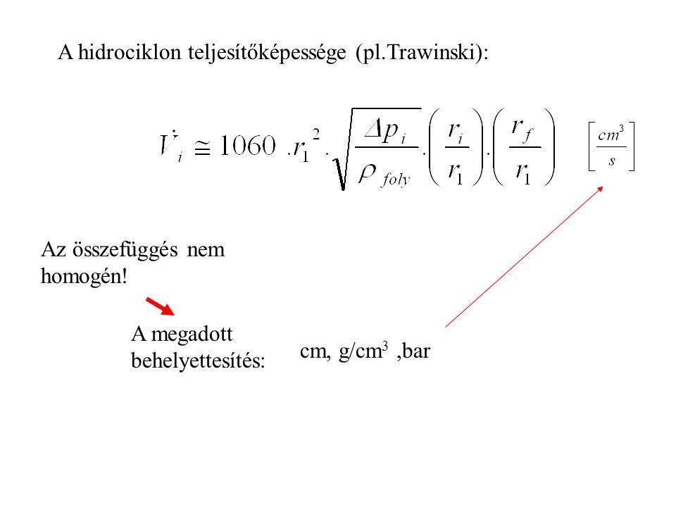 A hidrociklon teljesítőképessége (pl.Trawinski): Az összefüggés nem homogén.