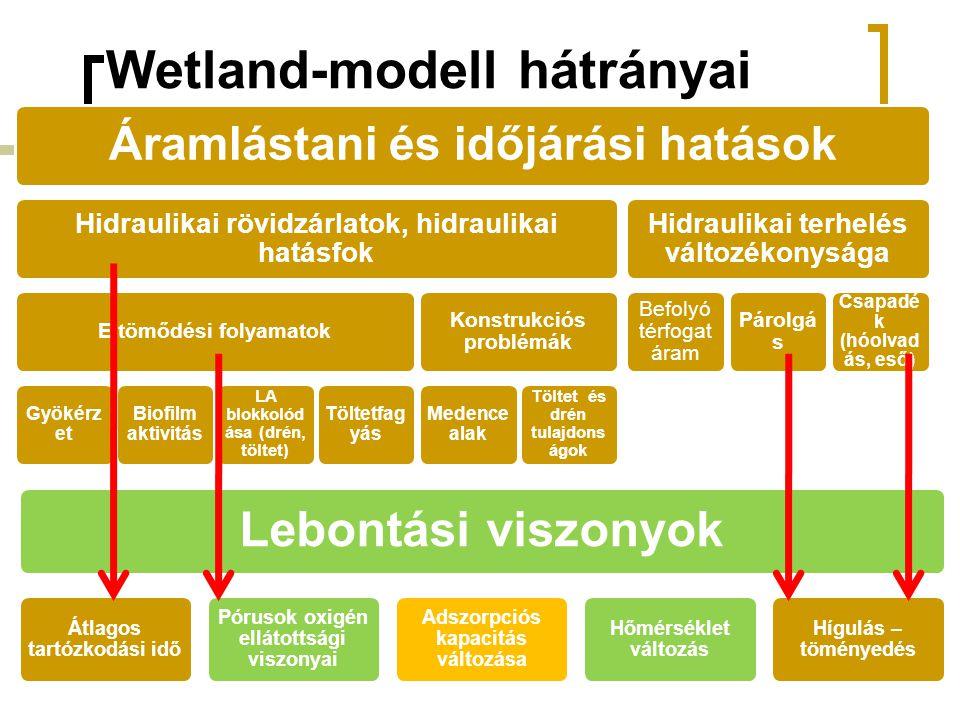 Wetland-modell hátrányai Áramlástani és időjárási hatások Hidraulikai rövidzárlatok, hidraulikai hatásfok Eltömődési folyamatok Gyökérz et Biofilm aktivitás LA blokkolód ása (drén, töltet) Töltetfag yás Konstrukciós problémák Medence alak Töltet és drén tulajdons ágok Hidraulikai terhelés változékonysága Befolyó térfogat áram Párolgá s Csapadé k (hóolvad ás, eső) Lebontási viszonyok Átlagos tartózkodási idő Pórusok oxigén ellátottsági viszonyai Adszorpciós kapacitás változása Hőmérséklet változás Hígulás – töményedés