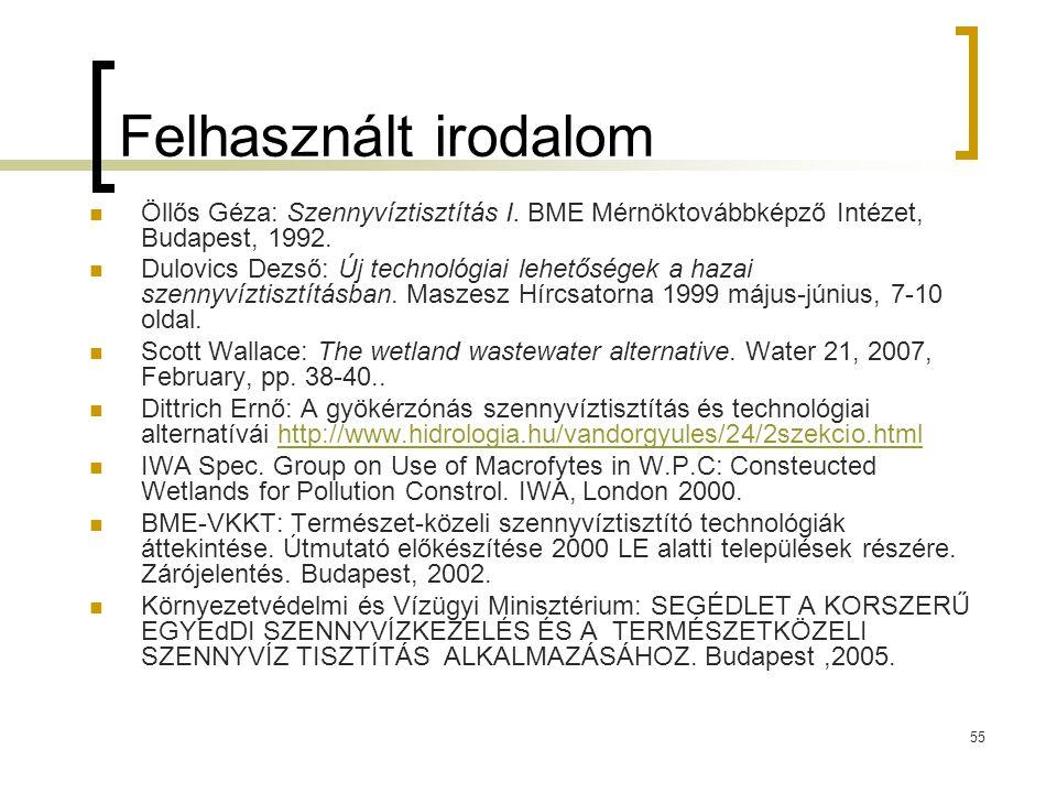 55 Felhasznált irodalom Öllős Géza: Szennyvíztisztítás I.