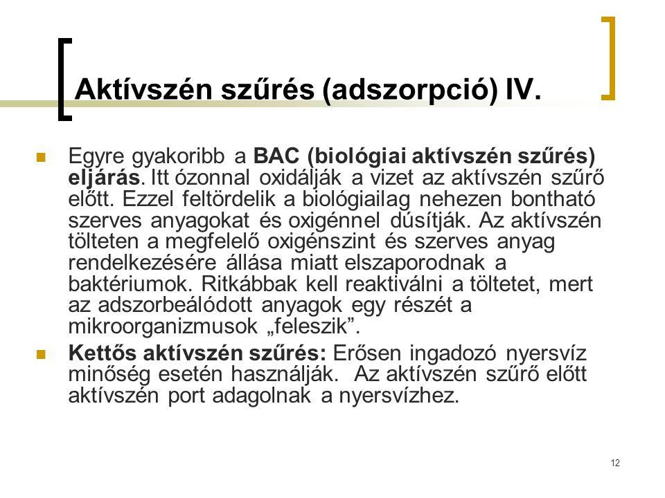 12 Aktívszén szűrés (adszorpció) IV.Egyre gyakoribb a BAC (biológiai aktívszén szűrés) eljárás.