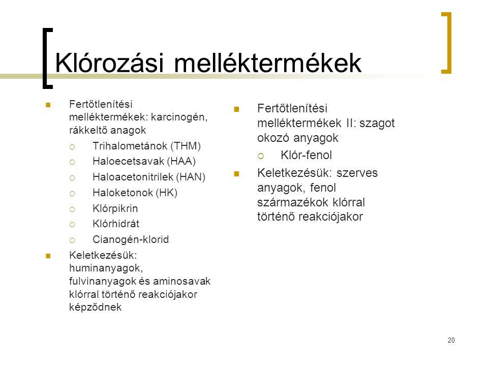 Klórozási melléktermékek Fertőtlenítési melléktermékek: karcinogén, rákkeltő anagok  Trihalometánok (THM)  Haloecetsavak (HAA)  Haloacetonitrilek (HAN)  Haloketonok (HK)  Klórpikrin  Klórhidrát  Cianogén-klorid Keletkezésük: huminanyagok, fulvinanyagok és aminosavak klórral történő reakciójakor képződnek 20 Fertőtlenítési melléktermékek II: szagot okozó anyagok  Klór-fenol Keletkezésük: szerves anyagok, fenol származékok klórral történő reakciójakor