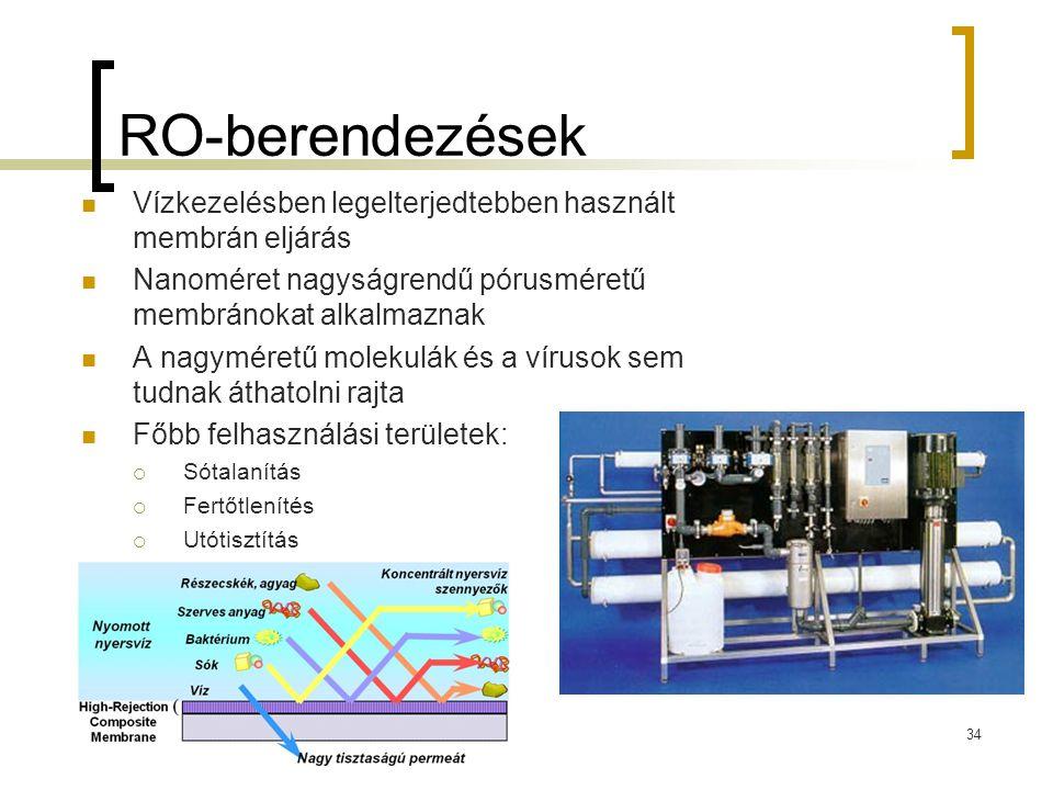 RO-berendezések Vízkezelésben legelterjedtebben használt membrán eljárás Nanoméret nagyságrendű pórusméretű membránokat alkalmaznak A nagyméretű molekulák és a vírusok sem tudnak áthatolni rajta Főbb felhasználási területek:  Sótalanítás  Fertőtlenítés  Utótisztítás 34