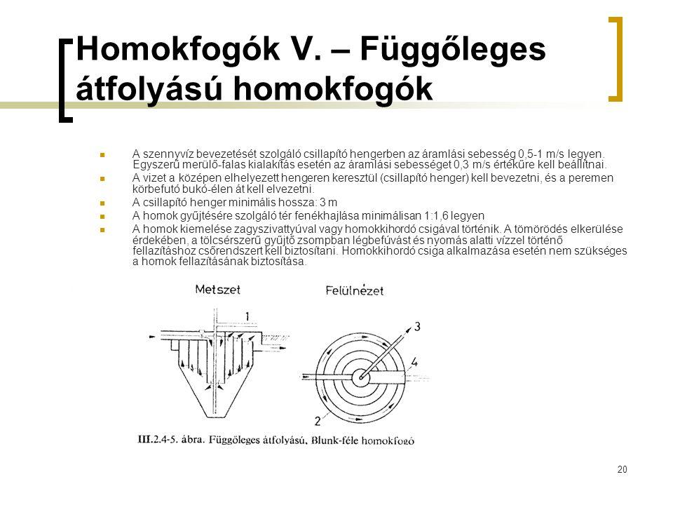 20 Homokfogók V. – Függőleges átfolyású homokfogók A szennyvíz bevezetését szolgáló csillapító hengerben az áramlási sebesség 0,5-1 m/s legyen. Egysze