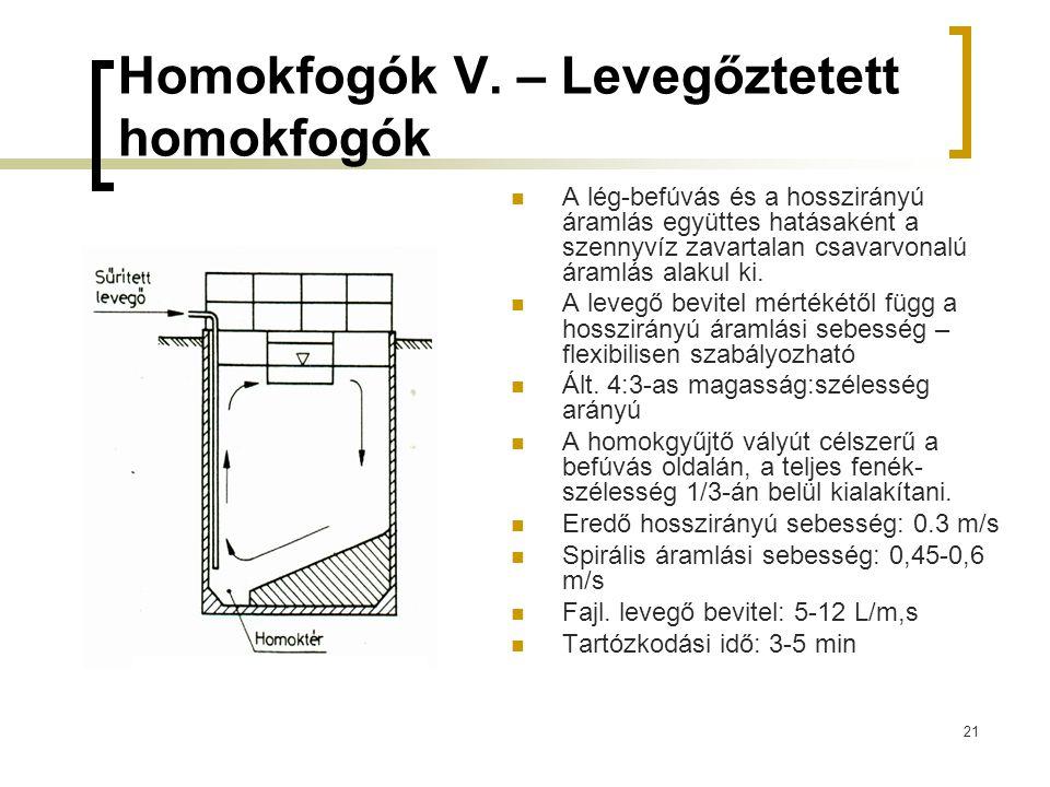 21 Homokfogók V. – Levegőztetett homokfogók A lég-befúvás és a hosszirányú áramlás együttes hatásaként a szennyvíz zavartalan csavarvonalú áramlás ala