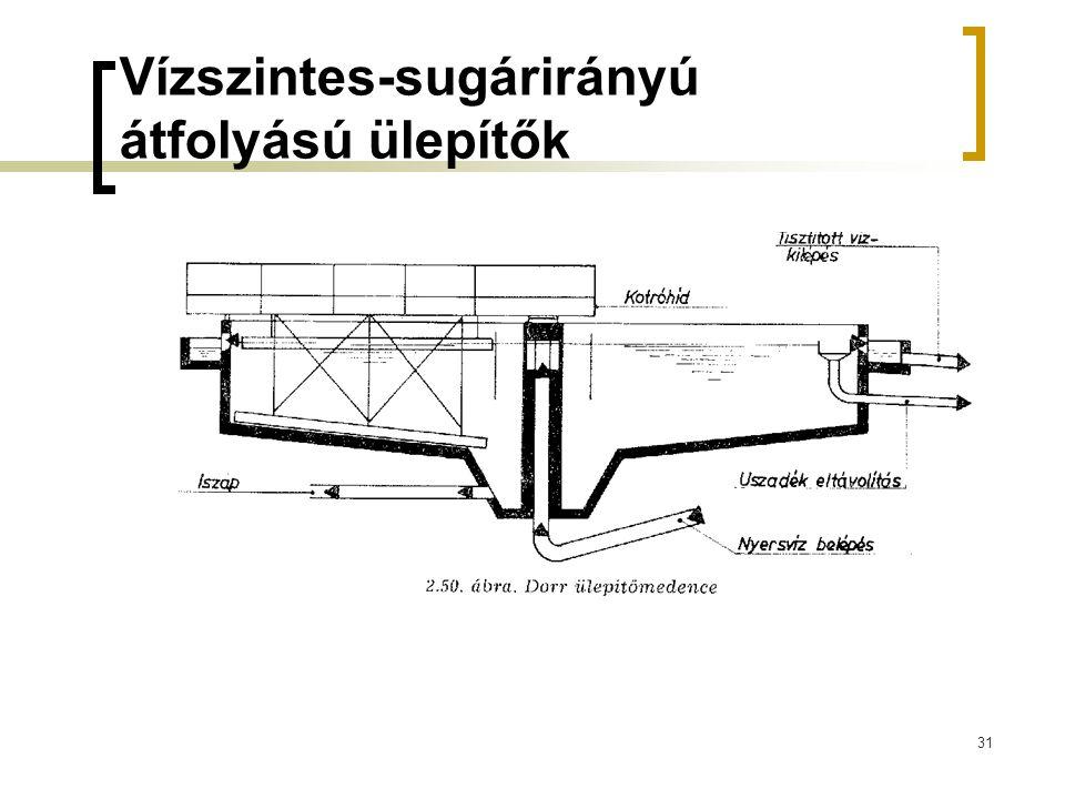 31 Vízszintes-sugárirányú átfolyású ülepítők