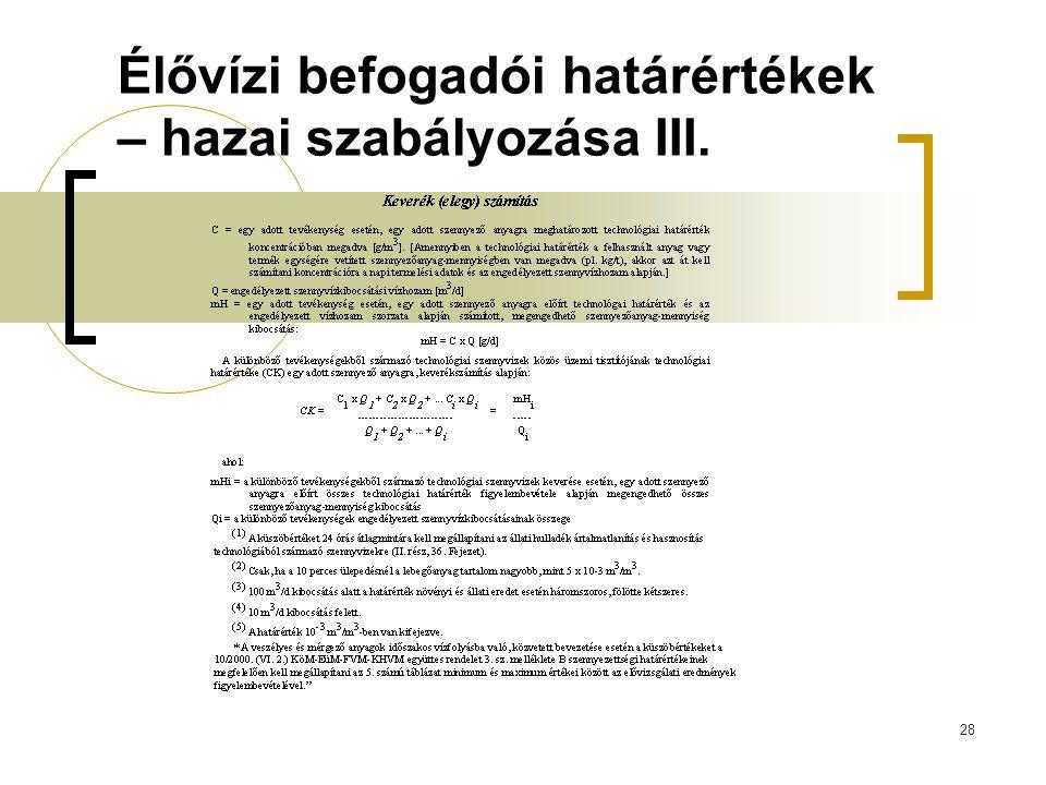 28 Élővízi befogadói határértékek – hazai szabályozása III.