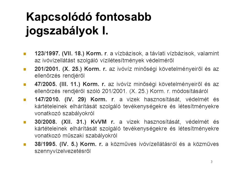 Kapcsolódó fontosabb jogszabályok I. 123/1997. (VII. 18.) Korm. r. a vízbázisok, a távlati vízbázisok, valamint az ivóvízellátást szolgáló vízilétesít