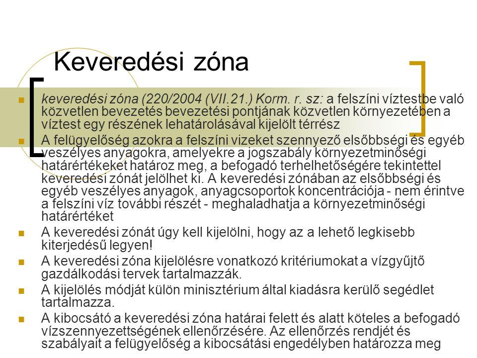 Keveredési zóna keveredési zóna (220/2004 (VII.21.) Korm. r. sz: a felszíni víztestbe való közvetlen bevezetés bevezetési pontjának közvetlen környeze