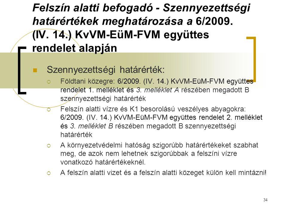 Felszín alatti befogadó - Szennyezettségi határértékek meghatározása a 6/2009. (IV. 14.) KvVM-EüM-FVM együttes rendelet alapján Szennyezettségi határé