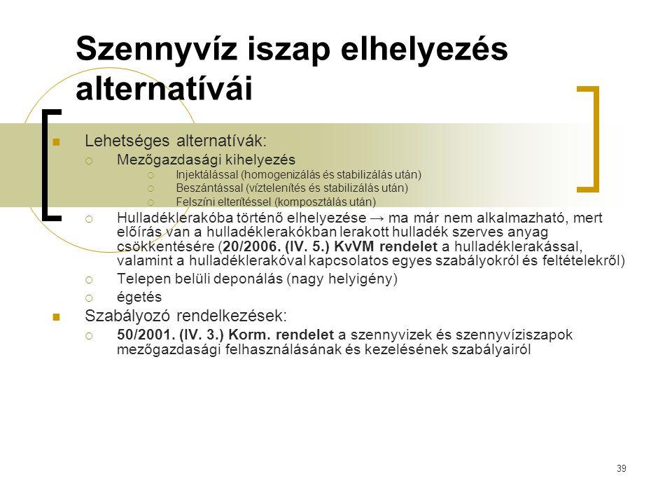 39 Szennyvíz iszap elhelyezés alternatívái Lehetséges alternatívák:  Mezőgazdasági kihelyezés  Injektálással (homogenizálás és stabilizálás után) 