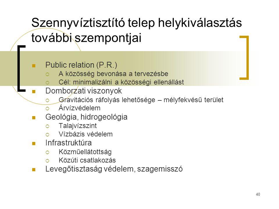 40 Szennyvíztisztító telep helykiválasztás további szempontjai Public relation (P.R.)  A közösség bevonása a tervezésbe  Cél: minimalizálni a közöss