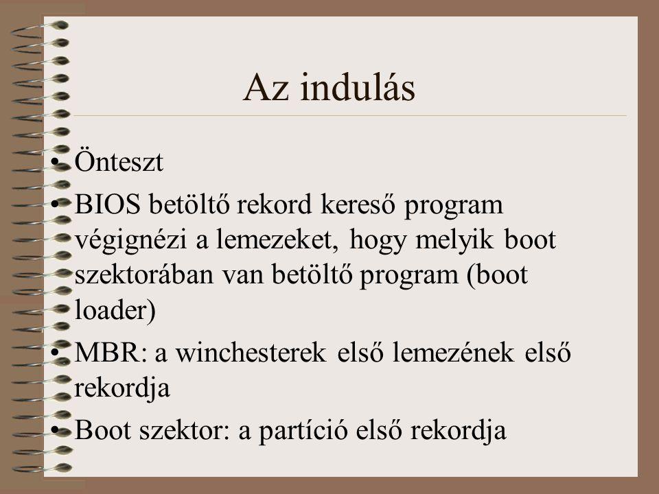 Az indulás Önteszt BIOS betöltő rekord kereső program végignézi a lemezeket, hogy melyik boot szektorában van betöltő program (boot loader) MBR: a winchesterek első lemezének első rekordja Boot szektor: a partíció első rekordja