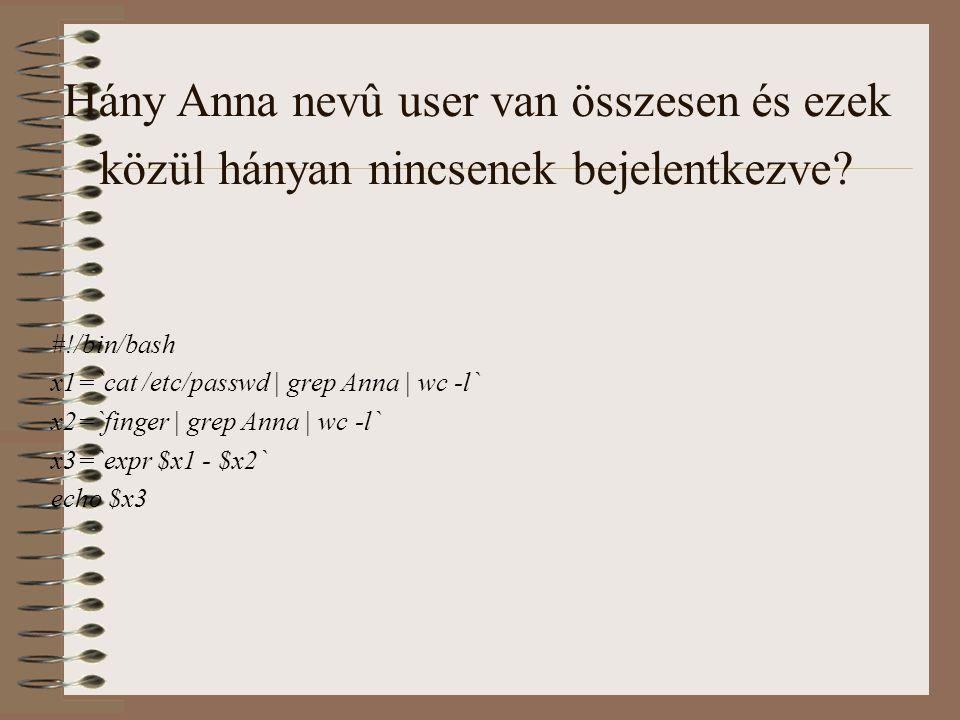 Hány Anna nevû user van összesen és ezek közül hányan nincsenek bejelentkezve.