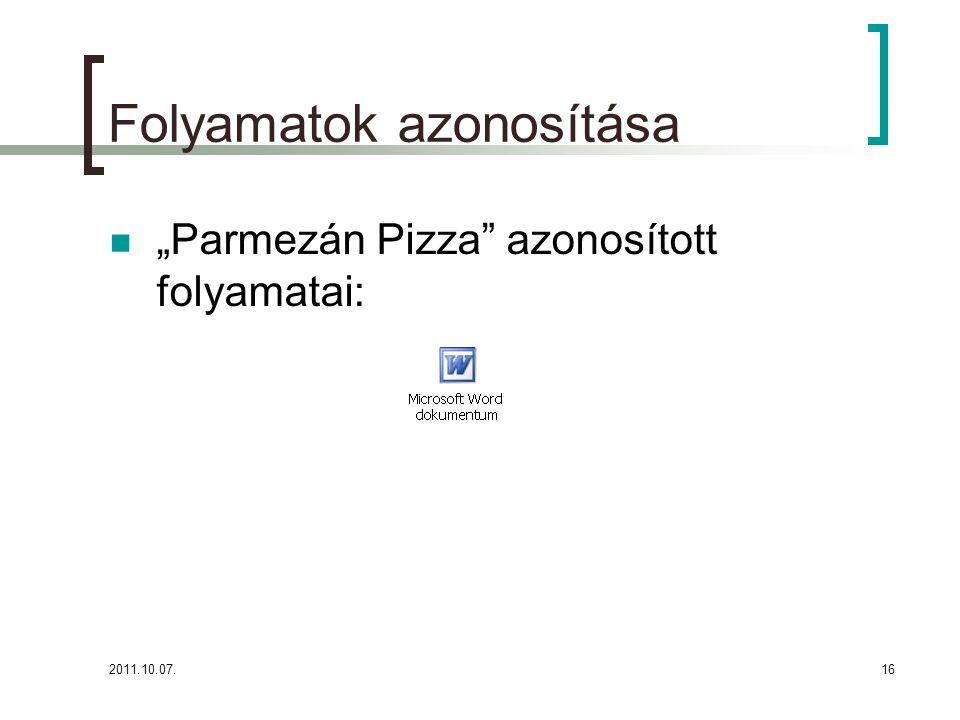 """2011.10.07.16 Folyamatok azonosítása """"Parmezán Pizza"""" azonosított folyamatai:"""