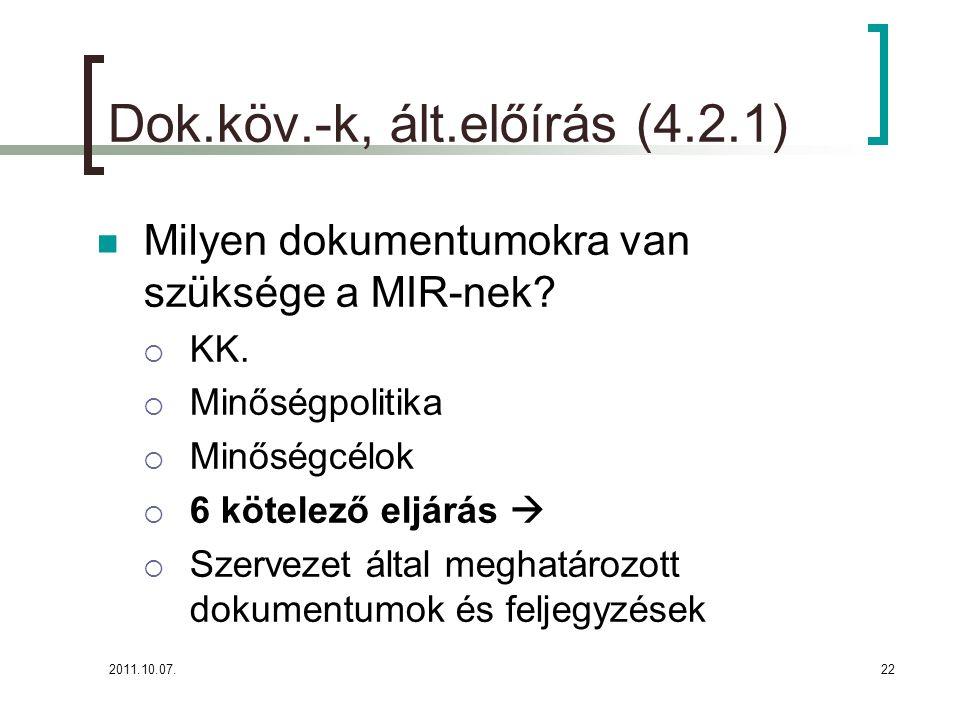 2011.10.07.22 Dok.köv.-k, ált.előírás (4.2.1) Milyen dokumentumokra van szüksége a MIR-nek?  KK.  Minőségpolitika  Minőségcélok  6 kötelező eljárá