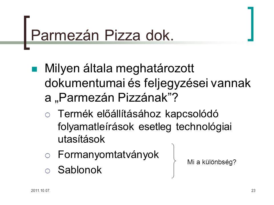 """2011.10.07.23 Parmezán Pizza dok. Milyen általa meghatározott dokumentumai és feljegyzései vannak a """"Parmezán Pizzának""""?  Termék előállításához kapcs"""