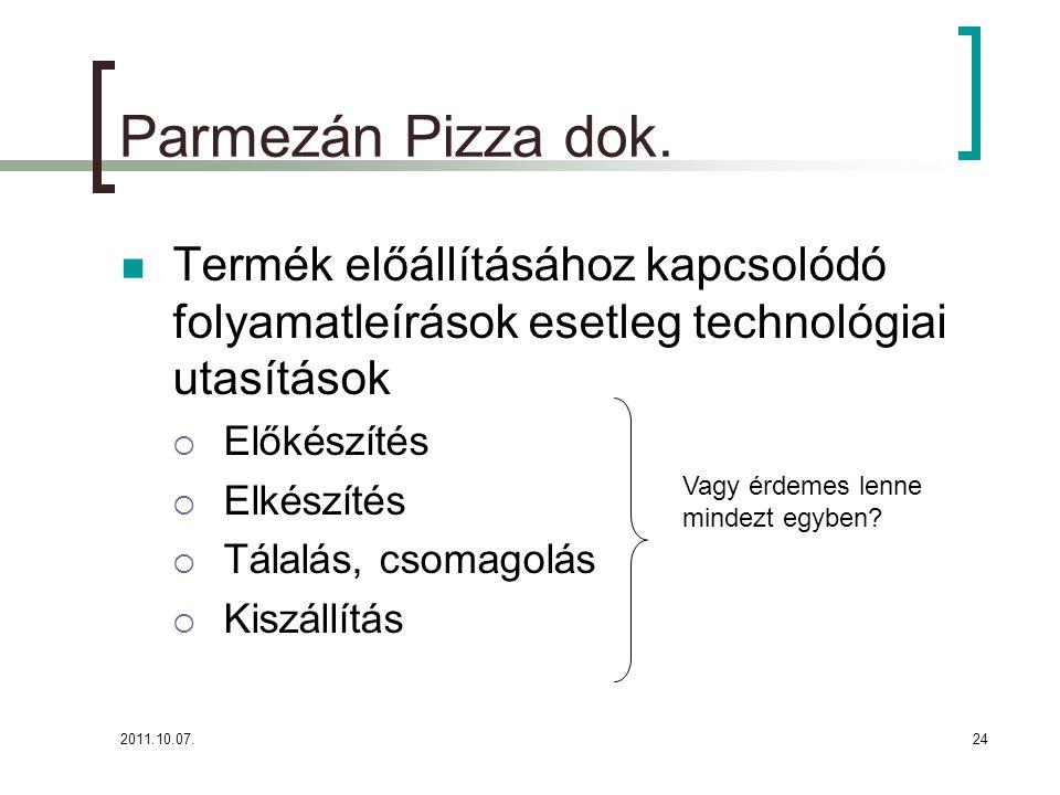 2011.10.07.24 Parmezán Pizza dok. Termék előállításához kapcsolódó folyamatleírások esetleg technológiai utasítások  Előkészítés  Elkészítés  Tálal