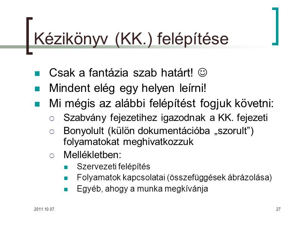 2011.10.07.27 Kézikönyv (KK.) felépítése Csak a fantázia szab határt.