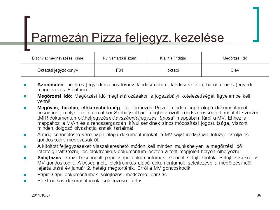 2011.10.07.36 Parmezán Pizza feljegyz. kezelése Azonosítás: ha üres (egyedi azonosító/név kiadási dátum, kiadási verzió), ha nem üres (egyedi megnevez