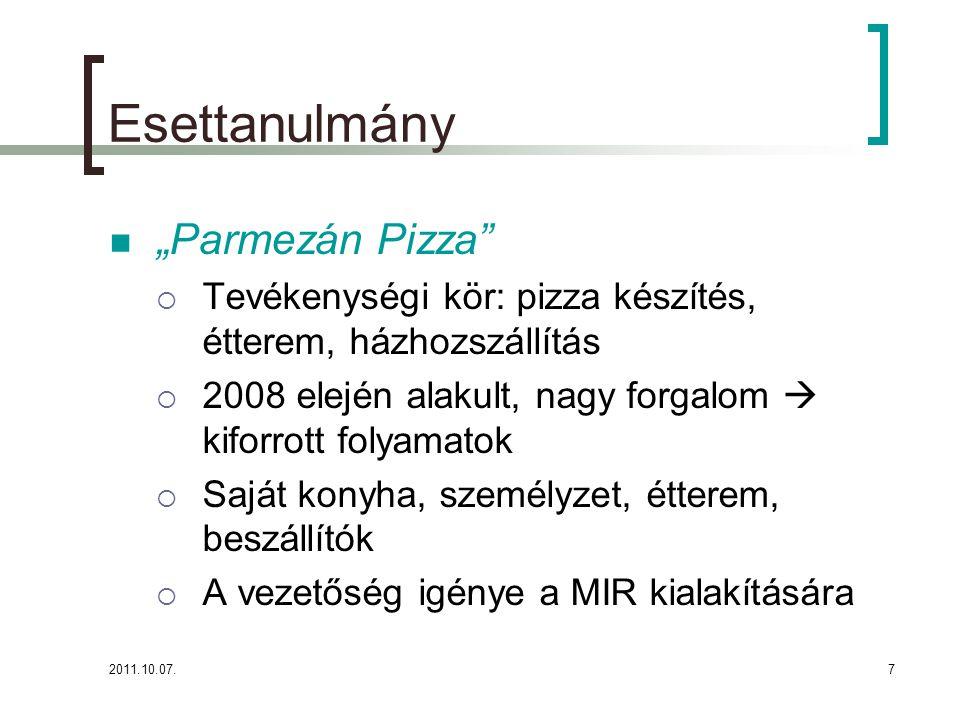 """2011.10.07.7 Esettanulmány """"Parmezán Pizza  Tevékenységi kör: pizza készítés, étterem, házhozszállítás  2008 elején alakult, nagy forgalom  kiforrott folyamatok  Saját konyha, személyzet, étterem, beszállítók  A vezetőség igénye a MIR kialakítására"""