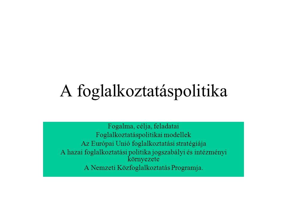 A foglalkoztatáspolitika Fogalma, célja, feladatai Foglalkoztatáspolitikai modellek Az Európai Unió foglalkoztatási stratégiája A hazai foglalkoztatás