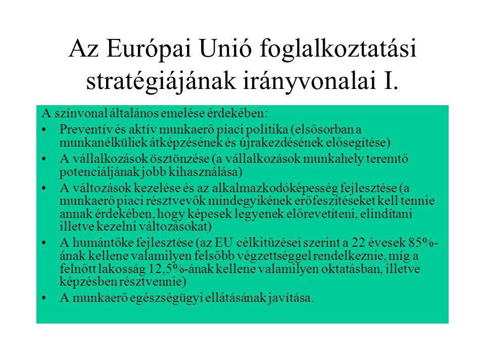 Az Európai Unió foglalkoztatási stratégiájának irányvonalai I. A színvonal általános emelése érdekében: Preventív és aktív munkaerő piaci politika (el
