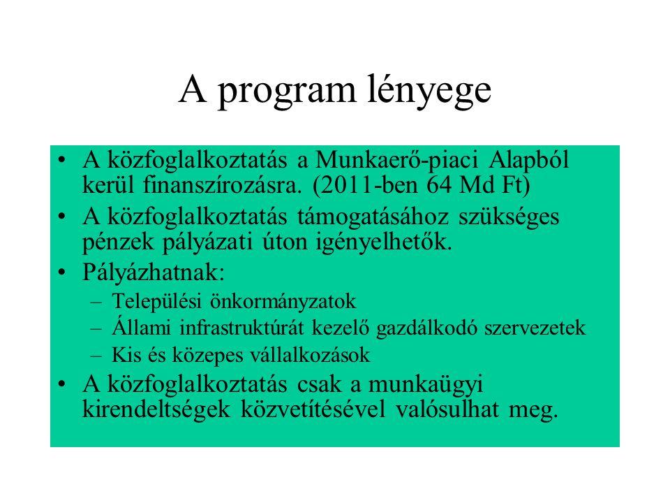 A program lényege A közfoglalkoztatás a Munkaerő-piaci Alapból kerül finanszírozásra. (2011-ben 64 Md Ft) A közfoglalkoztatás támogatásához szükséges