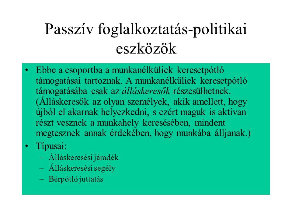 Passzív foglalkoztatás-politikai eszközök Ebbe a csoportba a munkanélküliek keresetpótló támogatásai tartoznak. A munkanélküliek keresetpótló támogatá