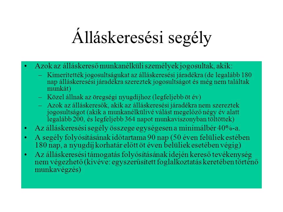 Álláskeresési segély Azok az álláskereső munkanélküli személyek jogosultak, akik: –Kimerítették jogosultságukat az álláskeresési járadékra (de legaláb