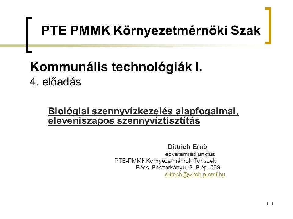2 A biológia szennyvíztisztítás I.