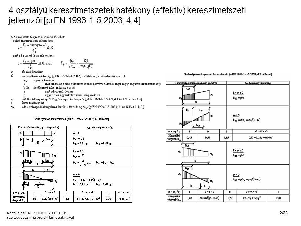 4.osztályú keresztmetszetek hatékony (effektív) keresztmetszeti jellemzői [prEN 1993-1-5:2003; 4.4] Készült az ERFP-DD2002-HU-B-01 szerződésszámú projekt támogatásával 2/23
