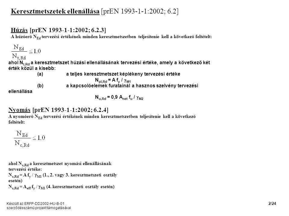 Keresztmetszetek ellenállása [prEN 1993-1-1:2002; 6.2] Húzás [prEN 1993-1-1:2002; 6.2.3] A húzóerő N Ed tervezési értékének minden keresztmetszetben teljesítenie kell a következő feltételt: ahol N t,Rd a keresztmetszet húzási ellenállásának tervezési értéke, amely a következő két érték közül a kisebb: (a)a teljes keresztmetszet képlékeny tervezési értéke N pl,Rd = A f y /  M1 (b)a kapcsolóelemek furatainál a hasznos szelvény tervezési ellenállása N u,Rd = 0,9 A net f u /  M2 Nyomás [prEN 1993-1-1:2002; 6.2.4] A nyomóerő N Ed tervezési értékének minden keresztmetszetben teljesítenie kell a következő feltételt: ahol N c,Rd a keresztmetszet nyomási ellenállásának tervezési értéke: N c,Rd = A f y /  M1 (1., 2.