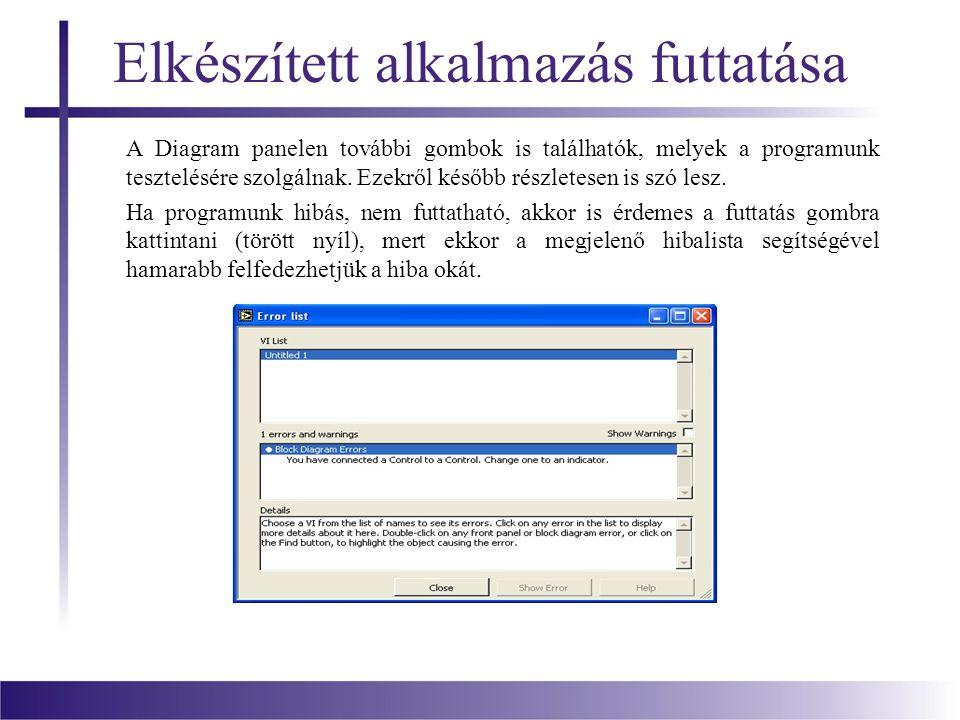 Elkészített alkalmazás futtatása A Diagram panelen további gombok is találhatók, melyek a programunk tesztelésére szolgálnak. Ezekről később részletes