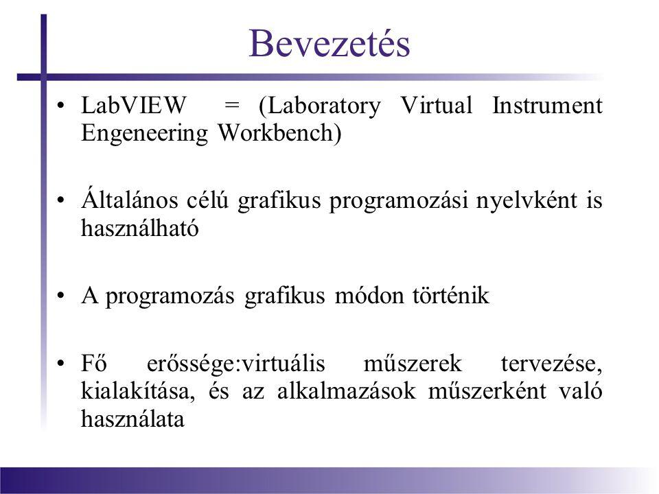 Bevezetés LabVIEW = (Laboratory Virtual Instrument Engeneering Workbench) Általános célú grafikus programozási nyelvként is használható A programozás
