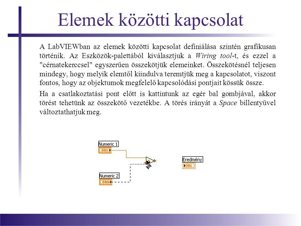 Elemek közötti kapcsolat A LabVIEWban az elemek közötti kapcsolat definiálása szintén grafikusan történik. Az Eszközök-palettából kiválasztjuk a Wirin