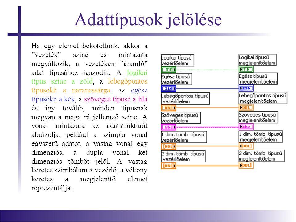 """Adattípusok jelölése Ha egy elemet bekötöttünk, akkor a """"vezeték"""" színe és mintázata megváltozik, a vezetéken """"áramló"""" adat típusához igazodik. A logi"""