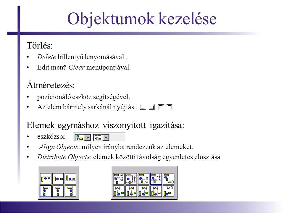 Objektumok kezelése Törlés: Delete billentyű lenyomásával, Edit menü Clear menüpontjával. Átméretezés: pozícionáló eszköz segítségével, Az elem bármel