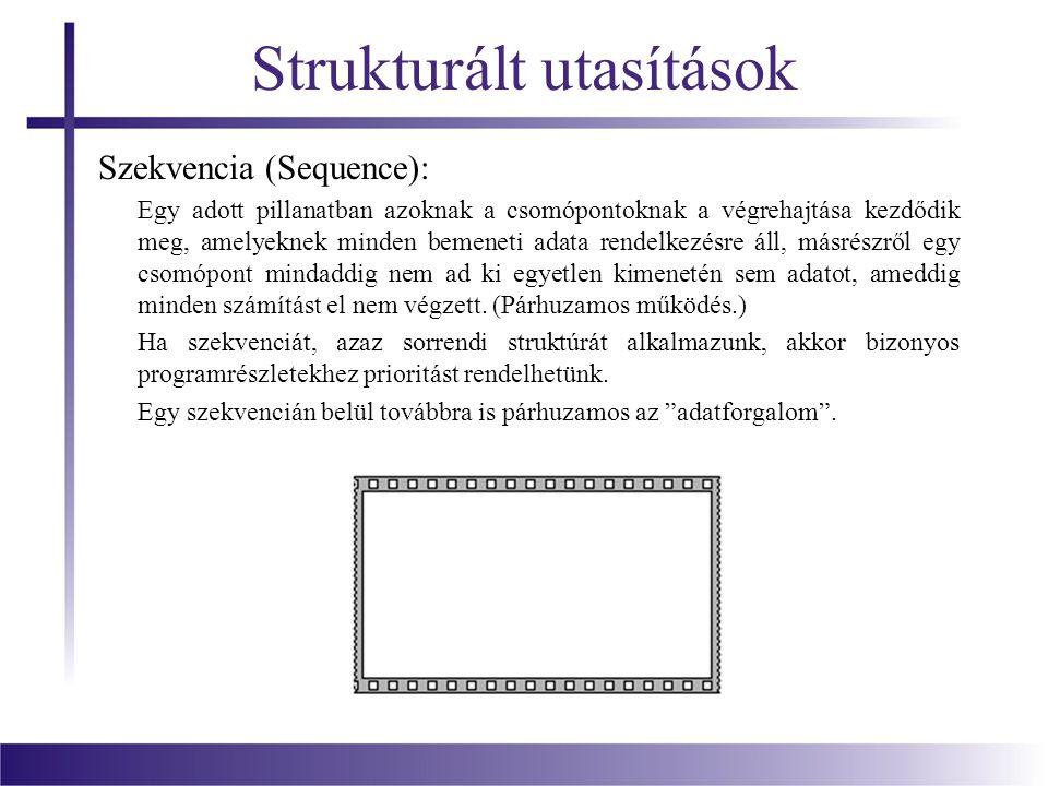 Strukturált utasítások Szekvencia (Sequence): Egy adott pillanatban azoknak a csomópontoknak a végrehajtása kezdődik meg, amelyeknek minden bemeneti a