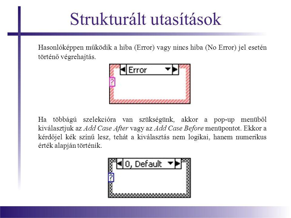 Strukturált utasítások Hasonlóképpen működik a hiba (Error) vagy nincs hiba (No Error) jel esetén történő végrehajtás. Ha többágú szelekcióra van szük