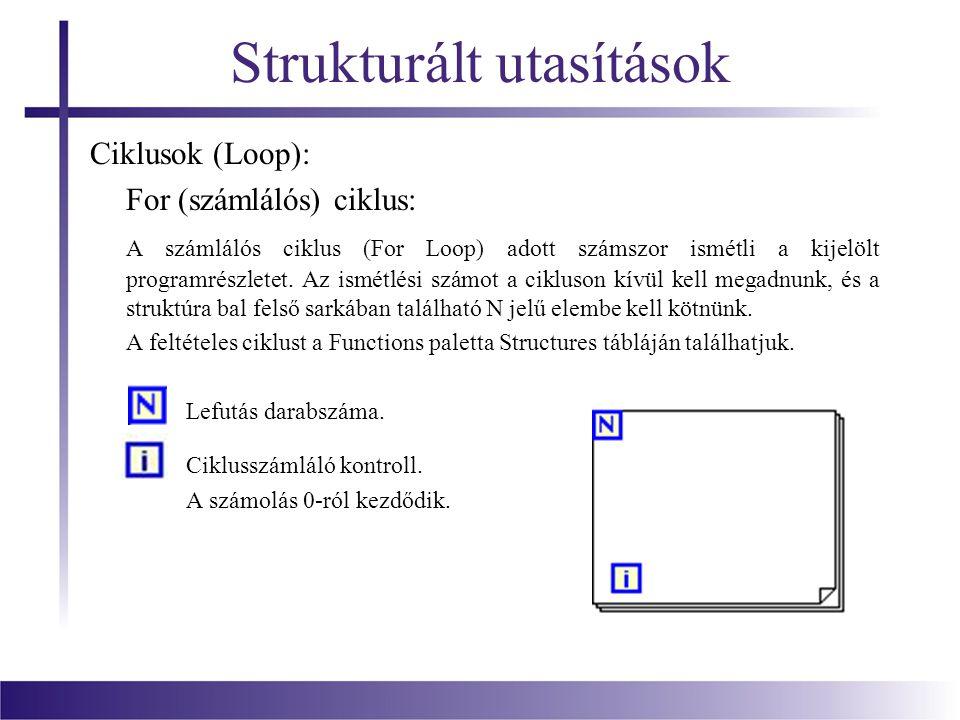Strukturált utasítások Ciklusok (Loop): For (számlálós) ciklus: A számlálós ciklus (For Loop) adott számszor ismétli a kijelölt programrészletet. Az i