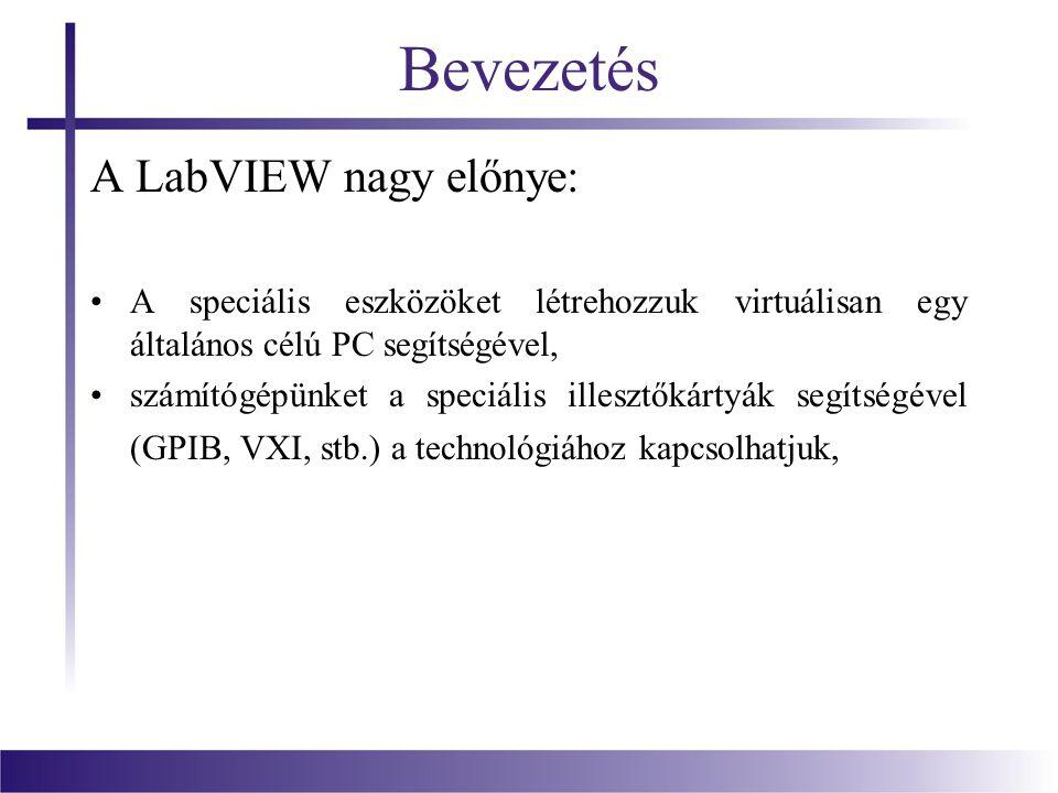 Bevezetés A LabVIEW nagy előnye: A speciális eszközöket létrehozzuk virtuálisan egy általános célú PC segítségével, számítógépünket a speciális illesz