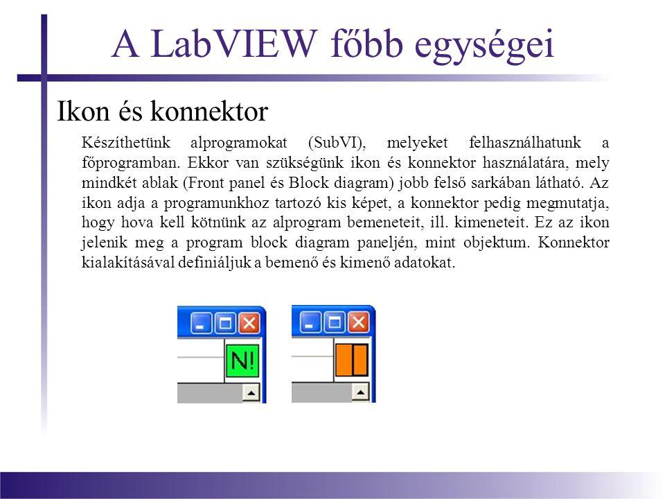 A LabVIEW főbb egységei Ikon és konnektor Készíthetünk alprogramokat (SubVI), melyeket felhasználhatunk a főprogramban. Ekkor van szükségünk ikon és k